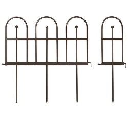 Pewter Wrought Iron Fence - Outdoor Garden Edging With Decorative Design - Plow & Hearth