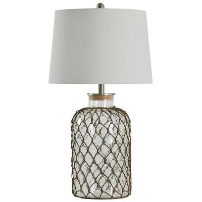 """30"""" 3-way Seeded Netted Rope Glass Table Lamp - StyleCraft"""