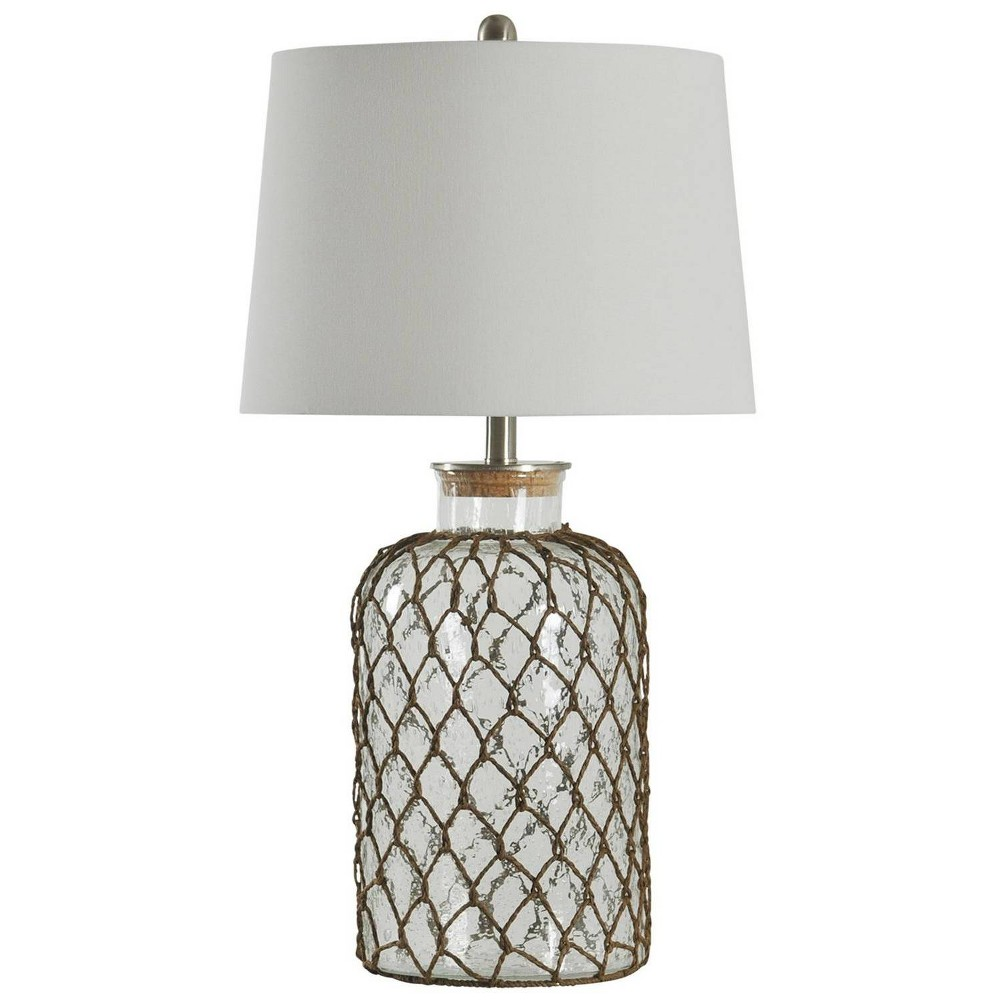 30 34 3 Way Seeded Netted Rope Glass Table Lamp Stylecraft