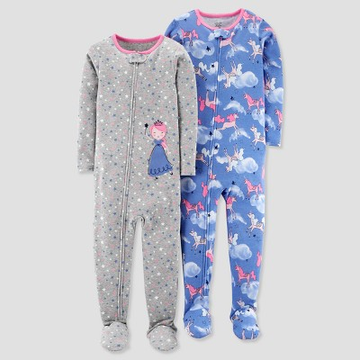 Baby Girls' 2pk Cotton Princess Unicorn Footed Pajama Set - Just One You® made by carter's Gray 12M