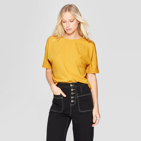 Women's Pintuck Elbow Sleeve Boxy T-Shirt - Who What Wear™ Gold XL - image 1 of 3
