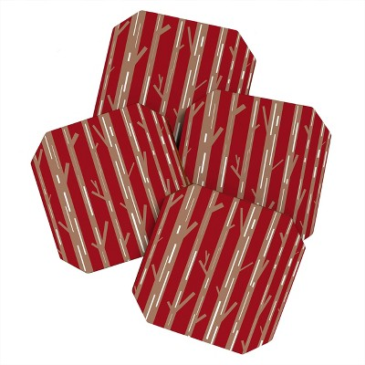 Lisa Argyropoulos Modern Trees Red Set of 4 Coasters - Deny Designs