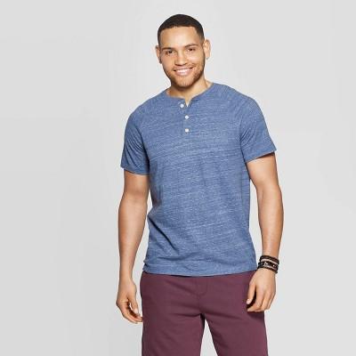 Men's Standard Fit Short Sleeve Henley T-Shirt - Goodfellow & Co™ Fighter Pilot Blue L