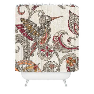 Flying Bird Shower Curtain Beige/Red - Deny Designs