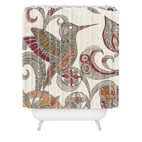 Flying Bird Shower Curtain Beige/Red - Deny Designs - image 1 of 2