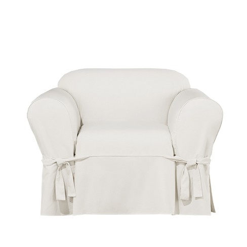 Essential Twill Chair Slipcover White Sure Fit