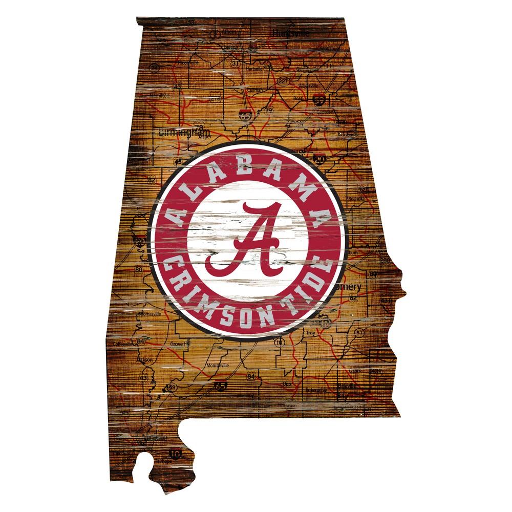 Alabama Crimson Tide Distressed Logo State Sign