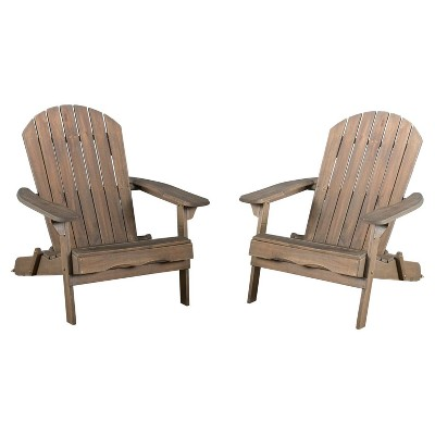 Hanlee Set of 2 Folding Wood Adirondack Chair - Gray Finish - Christopher Knight Home