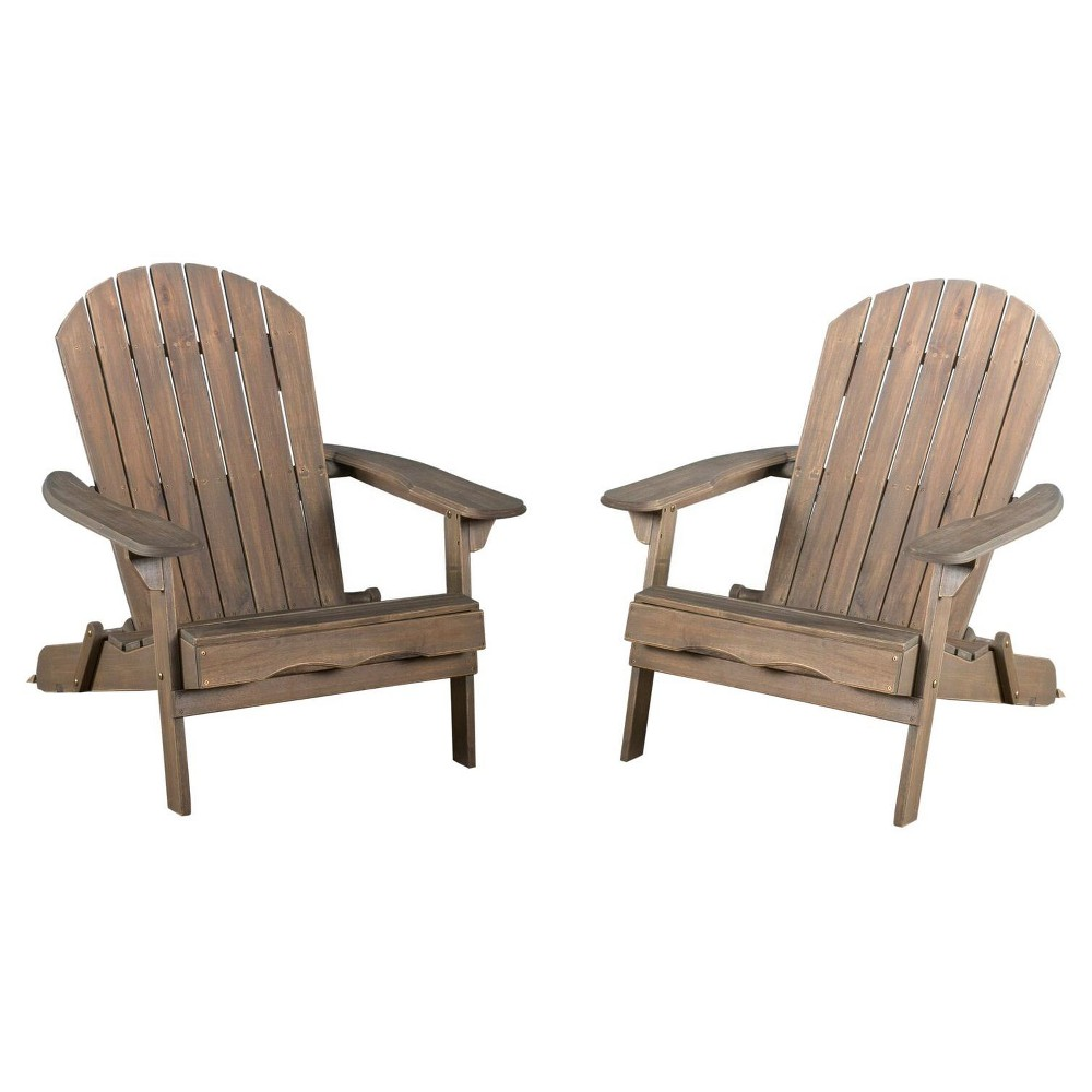 Hanlee Set of 2 Folding Wood Adirondack Chair - Gray Finish - Christopher Knight Home