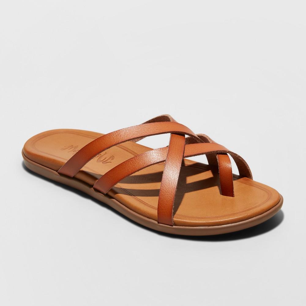 Women's Mad Love Adama Multi Strap Thong Sandals - Cognac (Red) 5