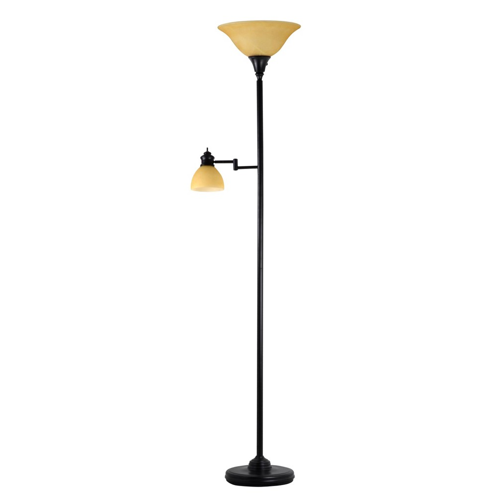 Image of Aaron Torchiere Swing Arm Reading Light Antique Bronze - Adesso