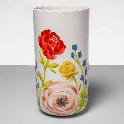 "13.3"" x 6.7"" Painted Stoneware Floral Vase White - Opalhouse™"