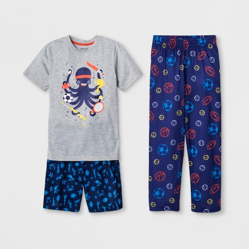 Boys' 3pc Sport Octopus Graphic Pajama Set - Cat & Jack™ Heather Gray - image 1 of 1