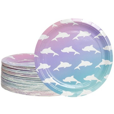 """Blue Panda 80-Count Dolphin Disposable Paper Plates 9"""" Purple Kids Birthdays Party Supplies"""