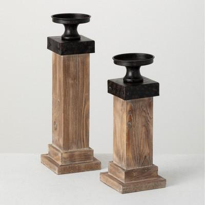 """Sullivans Set Of 2 Pillar Fir & Iron Candle Holders 15.25""""H & 12.25""""H Brown"""