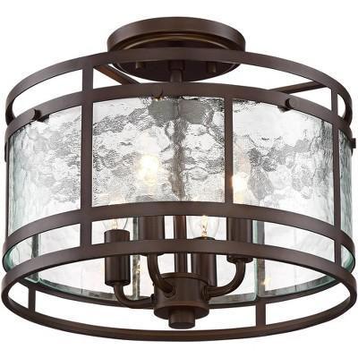 "Franklin Iron Works Rustic Industrial Ceiling Light Semi Flush Mount Fixture Oiled Bronze 13 1/4"" Wide Water Glass Drum Bedroom"