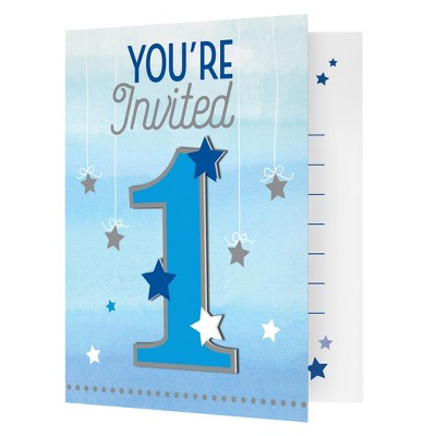 8ct One Little Star Boy Birthday Invitations