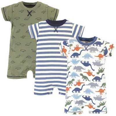 Touched by Nature Baby Boy Organic Cotton Rompers 3pk, Bold Dinosaurs