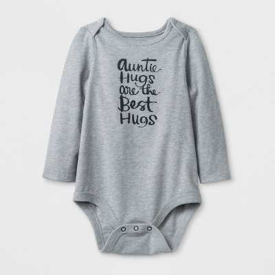 Baby Girls' Long Sleeve  Auntie Hugs  Bodysuit - Cat & Jack™ Gray 6-9M