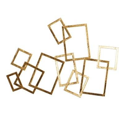 "30"" x 22"" Abstract Rectangular Metal Wall Decor Gold - Olivia & May"