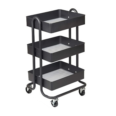 ECR4Kids 3 Tier Metal Rolling Storage Organizer Utility Cart with 4 Rolling Caster Wheels for Office, Kitchen, and Bathroom, Black
