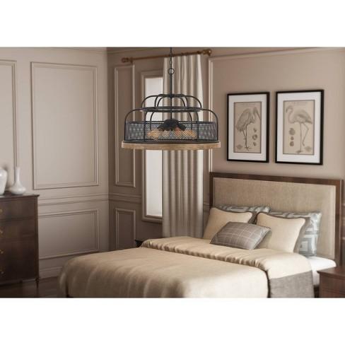 60W X 6 Akaki Metal/Pine Wood Chandelier Iron/Light Oak - Cal Lighting - image 1 of 1