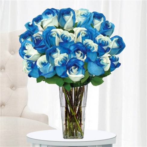 Blue And White Roses 24 Stems With Vase Target