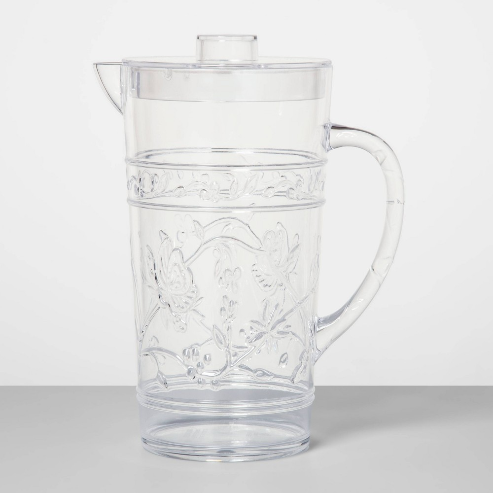 Image of 76.8 oz Plastic Floral Embossed Beverage Pitcher - Opalhouse