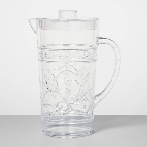 24oz Plastic Floral Embossed Beverage Pitcher - Opalhouse™ - image 1 of 1