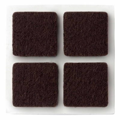Scotch 12pc 1  Square Felt Pads Brown