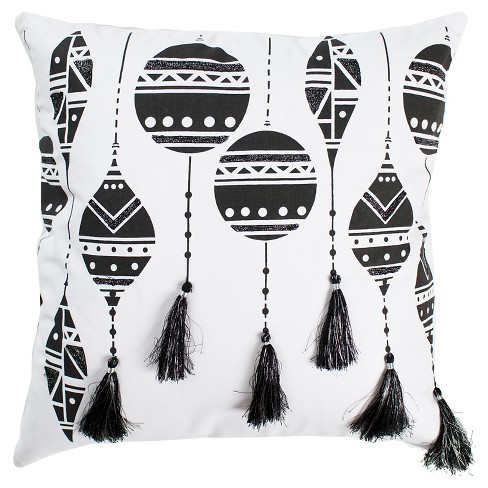 Black White Christmas Ornaments Throw Pillow With Tassels 20 X20 Rizzy Home