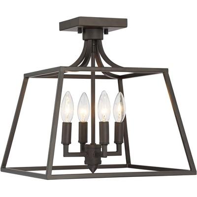 "Franklin Iron Works Ceiling Light Semi Flush Mount Fixture Bronze 14"" Wide 4-Light Open Framework for Bedroom Kitchen Living Room"