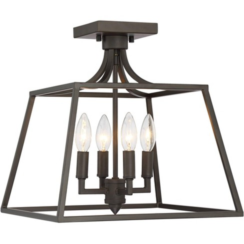 "Franklin Iron Works Ceiling Light Semi Flush Mount Fixture Bronze 14"" Wide 4-Light Open Framework for Bedroom Kitchen Living Room - image 1 of 4"