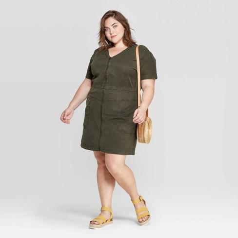Women's Plus Size Short Sleeve V-Neck Zip Front Mini Dress - Universal Thread™ Green - image 1 of 3