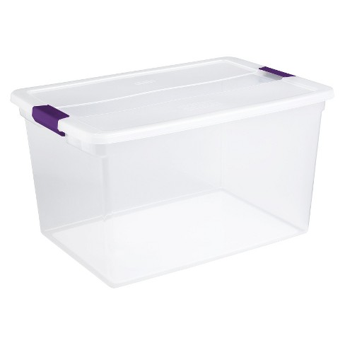 Sterilite 66 Qt ClearView Latch Box Clear with Purple Latches - image 1 of 3