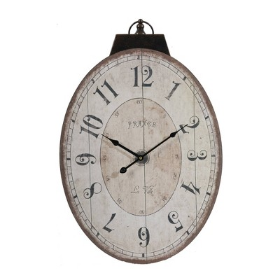 Thaddeus Oval Wall Clock Antique White - A&B Home