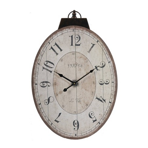 Thaddeus Oval Wall Clock Antique White - A&B Home - image 1 of 2