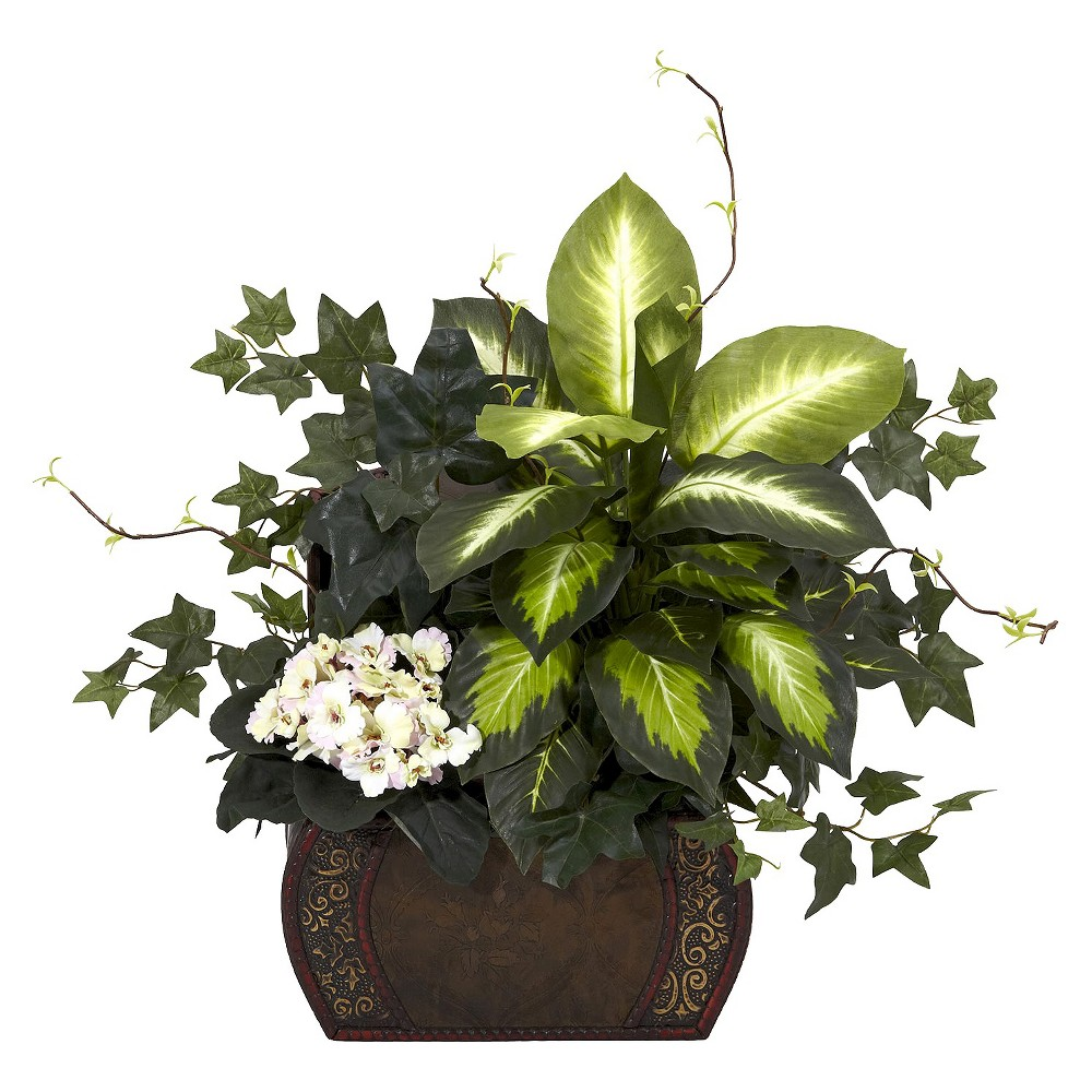 Nearly Natural African Violet Dieffenbachia & Ivy w/Chest Silk Plant Price