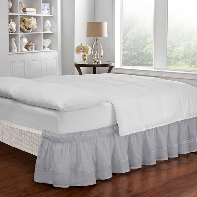 "Gray Wrap Around Baratta Stitch Ruffled Bed Skirt (Queen/King)(80"" X 60"")- EasyFit"