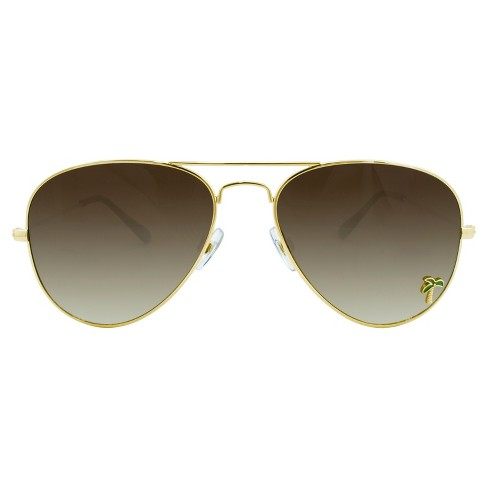 Women's Aviator Sunglasses with Smoke Lenses - Gold - image 1 of 3