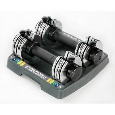 ProForm Adjustable Pair Dumbbells – Black/Silver (2.5lbs - 12.5lbs)