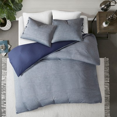 3pc Matteo Cotton Duvet Cover Set Denim Blue