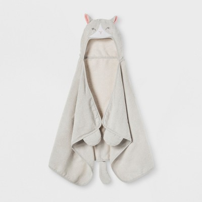 Cat Hooded Bath Towel Silver - Pillowfort™