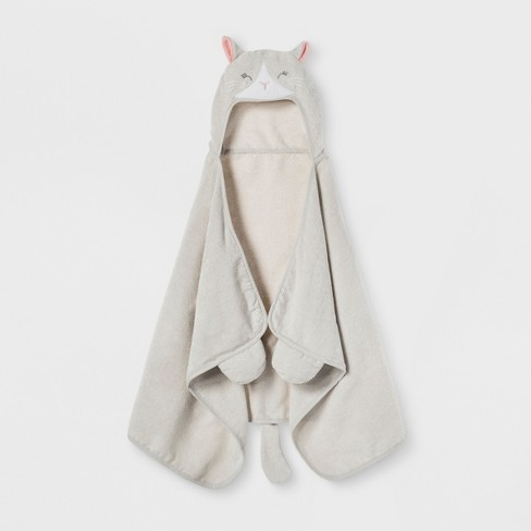Cat Hooded Bath Towel Silver - Pillowfort™ - image 1 of 2