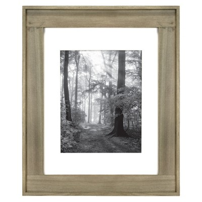 8  x 10  Matted Plank Wood Wall Frame Brown - Threshold™