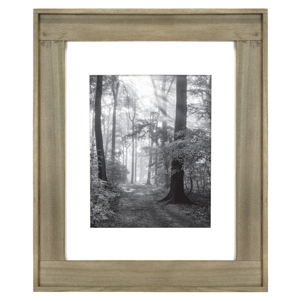 "Image of ""11"""" x 14"""" Matted to 8"""" x 10"""" Raised Plank Wood Wall Frame Brown - Threshold"""
