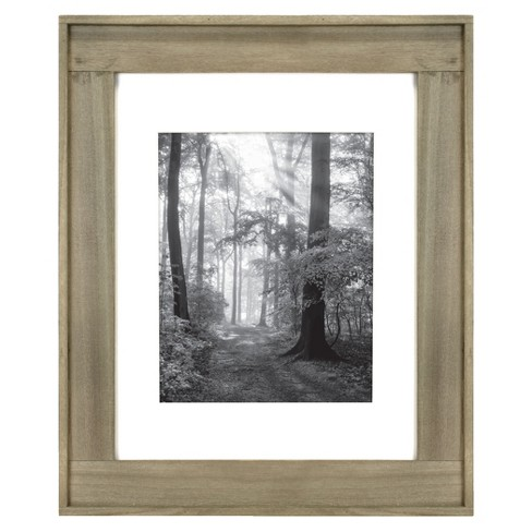 """11"""" x 14"""" Matted to 8"""" x 10"""" Plank Wood Wall Frame Brown - Threshold™ - image 1 of 4"""