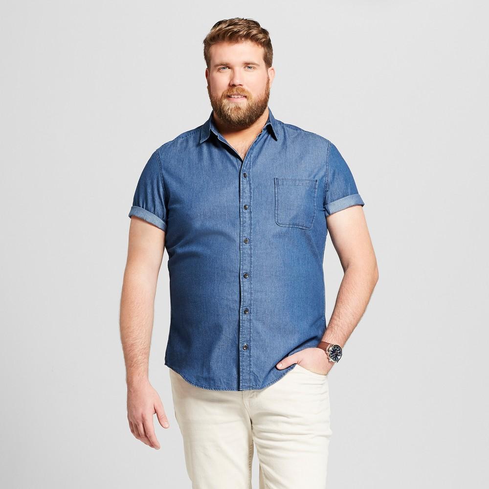 Men's Big & Tall Striped Standard Fit Short Sleeve Button-Down Shirt - Goodfellow & Co Parrish Blue 2XB