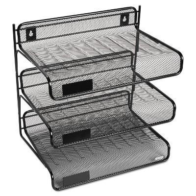 Rolodex Mesh Three-Tier Letter Size Desk Shelf 10 x 7 x 9 3/8 Black 22341