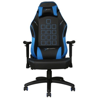 E-Win Knight Series Ergonomic Computer PC Gaming Home Office PVC Leather Tall Back Chair with Pillows, Black and Blue